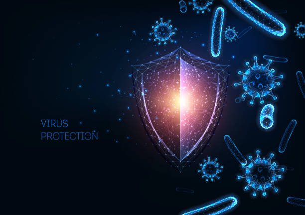 futuristic immune system protection with glowing low polygonal shield, virus and bacteria cells. - virus stock illustrations