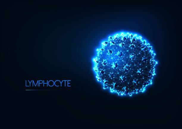 ilustraciones, imágenes clip art, dibujos animados e iconos de stock de concepto de inmunología futurista con linfocitos blancos de linfocitos bajos o células cancerosas - oncología