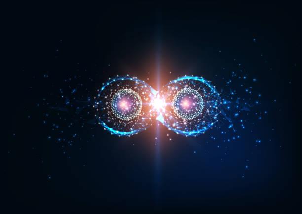 stockillustraties, clipart, cartoons en iconen met futuristische infinity symbool, quantum verstrikking, toekomst fysica science concept. - complex