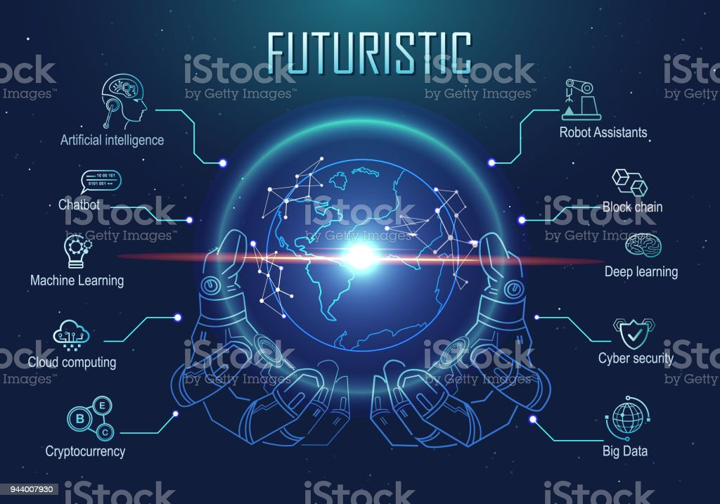 Futuristic infographic robotic hand holding virtual digital earth globe. artificial intelligence technology, big data, robot assistants, block chain, cryptocurrency icon and machine learning. vector art illustration
