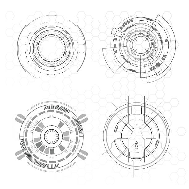 Futuristic interface elements Futuristic interface elements in vector instrument of measurement stock illustrations