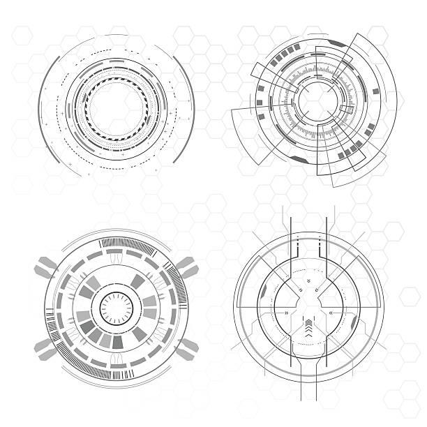 futuristic interface elements - radar stock illustrations