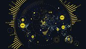 HUD futuristic interface global technology and telecommunication network, Vector world map of world analytics