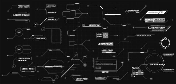 futurystyczny interfejs hud design. wizualizacja danych cyfrowych. nowoczesna komunikacja cyfrowa. tytuły objaśnień. duże etykiety pasków objaśnień, paski pól rozmów informacyjnych, nowoczesne cyfrowe pola informacyjne - futurystyczny stock illustrations