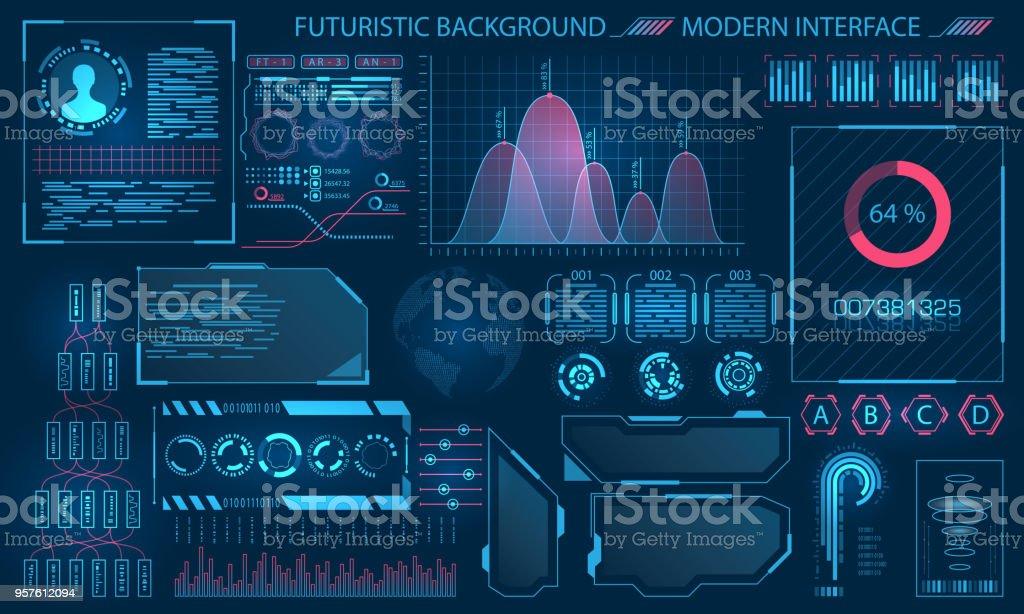 Interface futuriste HUD Design, éléments infographiques - Illustration vectorielle