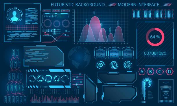 ilustraciones, imágenes clip art, dibujos animados e iconos de stock de diseño de interfaz futurista de hud, elementos de infografía - pantalla táctil