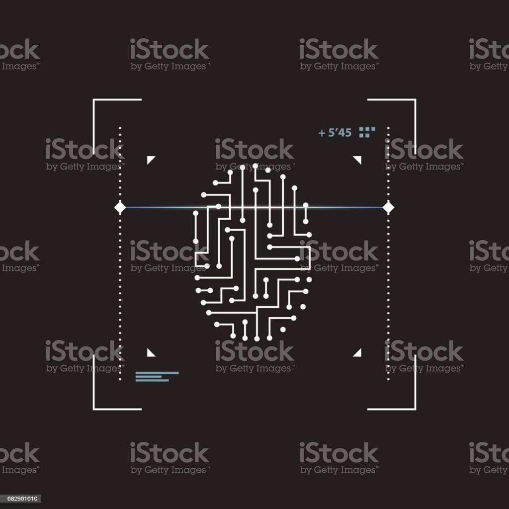 Futuristic interface scanner fingerprint. vector art illustration
