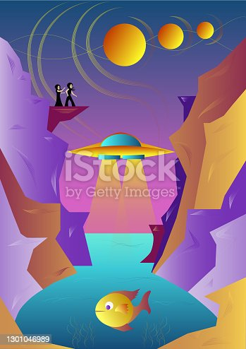 istock Futuristic landscape. Planets. UFO. Rocks. People on the rock. ocean. Fish. Colorful background. Vector illustration. 1301046989