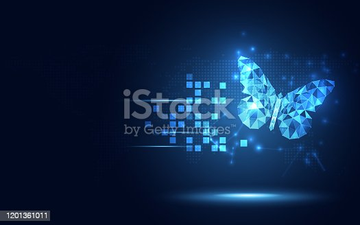 istock Futuristic lowpoly blue Butterfly abstract technology background. Artificial intelligence and Vitual reality concept. Business digital transformation and quantum internet network speed evolution theme 1201361011
