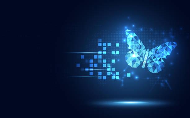 未来的なローポリブルーバタフライ抽象技術の背景。人工知能とヴィチュアルの現実の概念。ビジネスデジタルトランスフォーメーションと量子インターネットネットワーク速度進化のテー� - 変化点のイラスト素材/クリップアート素材/マンガ素材/アイコン素材