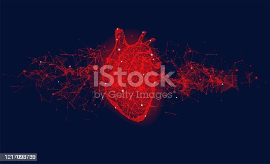 Futuristic medical concept with red human heart. Abstract geometric design with plexus effect on blue background. Healthcare and cardiology banner with copy space.