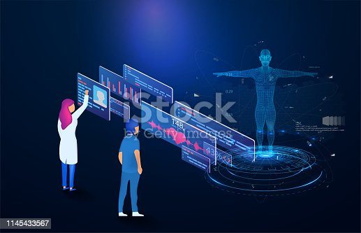 Futuristic medical technology based isometric design, whole body scanning , doctor find out the disease.