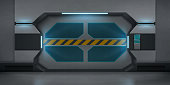 Futuristic metal sliding doors in spaceship