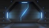istock Futuristic metal sliding spaceship doors 1213011473