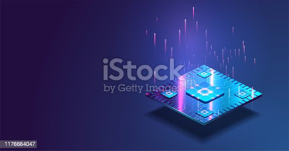 Futuristic microchip processor with lights on the blue background. Quantum computer, large data processing, database concept. CPU isometric banner.