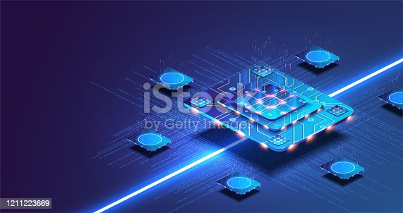 Futuristic microchip processor with lights on the blue background. Quantum computer, large data processing, database concept.