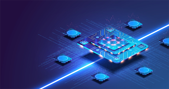Futuristic microchip processor with lights on the blue background. Quantum computer, large data processing, database concept. Artificial intelligence and robotics quantum computing processor concept.