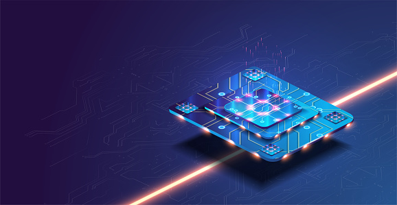 Futuristic microchip processor with lights on the blue background. Quantum computer, large data processing, database concept. Future technology development CPU and microprocessors for machine learnin