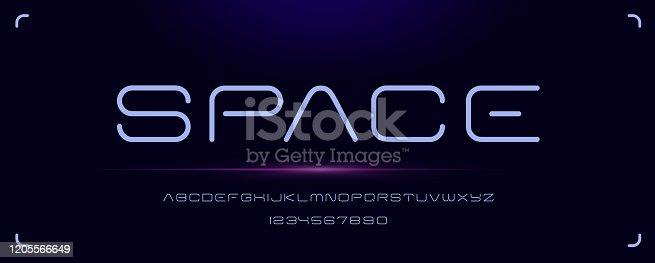 istock Futuristic minimal font for emblems and headlines 1205566649