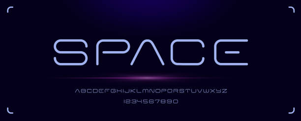 Futuristic minimal font for emblems and headlines Futuristic minimal font, modern alphabet with uppercase and numbers. perfect for emblems, headlines and manny other uses. copy space stock illustrations