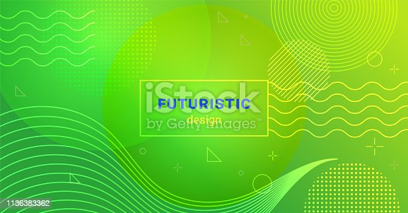 istock Futuristic minimalist background with waves and dots on gradient blend abstract shapes 1136383362