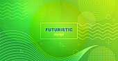Futuristic minimalist background with waves and dots on gradient blend abstract shapes. Bright minimalistic green and yellow banner vector design for web and landing page