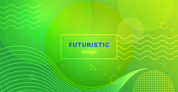 illustrazioni stock, clip art, cartoni animati e icone di tendenza di futuristic minimalist background with waves and dots on gradient blend abstract shapes - verde