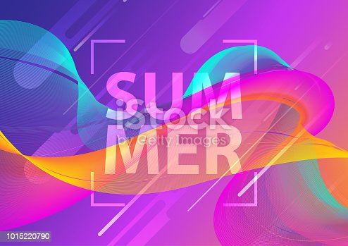 istock Futuristic music fest summer wave poster. Club party flyer. Abstract gradients waves technology background. Eps10 vector illustration. 1015220790
