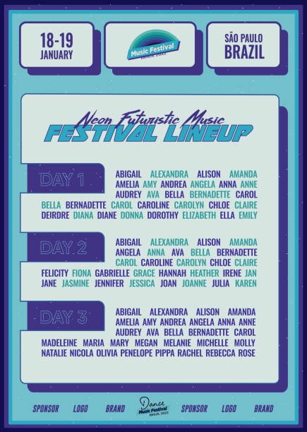 Futuristic Music Festival Lineup DJ Poster or Flyer Leaflet Template in Bright Blue Synthwave Cyberpunk Style vector art illustration