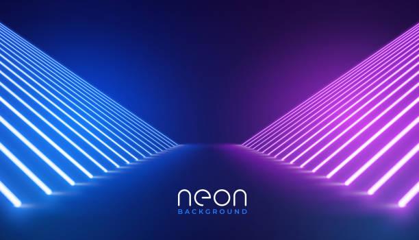 futuristische Neonlichter Bühnenbodenhintergrund – Vektorgrafik