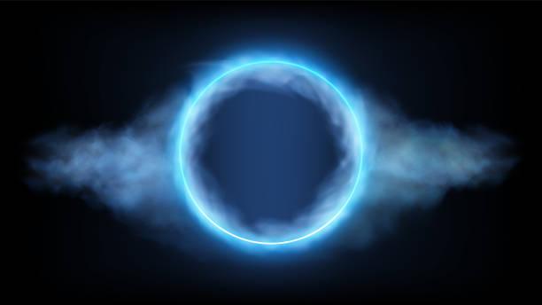 illustrazioni stock, clip art, cartoni animati e icone di tendenza di futuristic neon round frame in clouds on black background. vector illustration. eps10 - aureola