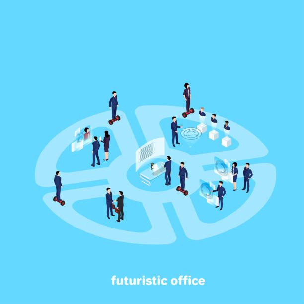 futuristische büro - halbwände stock-grafiken, -clipart, -cartoons und -symbole