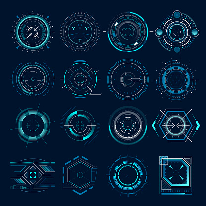 Futuristic optical aim. Military collimator sight, gun targets focus range indication. Sniper weapon target hud aiming vector icons set clipart
