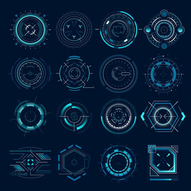 futurystyczny cel optyczny. widok wojskowy kolimatora, wskazanie zakresu ostrości celów pistoletu. snajper broń cel hud zestaw ikon wektorowych - futurystyczny stock illustrations