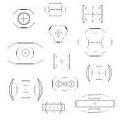 Futuristic optical aim. Military collimator sight, gun targets focus range indication. Sniper weapon target hud aiming modern accuracy crosshairs future weapon radar technology vector icons set.