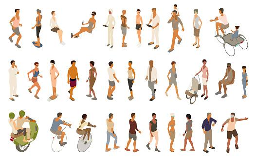 Futuristic people icon set