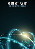 Futuristic planet earth. World map of dots. Abstract background. Cyber space. Global network. Vector illustration. EPS 10