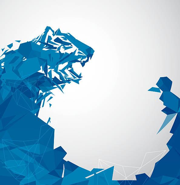 bildbanksillustrationer, clip art samt tecknat material och ikoner med futuristic polygon tiger - tron sci fi