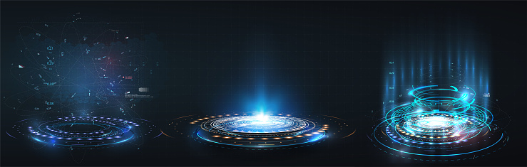 HUD, GUI futuristic portal, hologram. Abstract digital user interface technology. A set of futuristic circles virtual interface elements. Abstract technology communication design innovative background