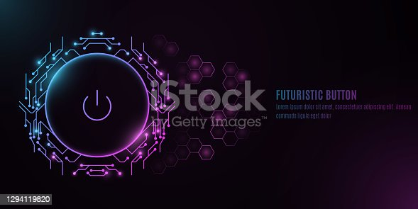 istock Futuristic power button with computer circuit board on a background with a pattern of hexagons. HUD interface and UI concept. Cyber neon switch. Vector illustration 1294119820