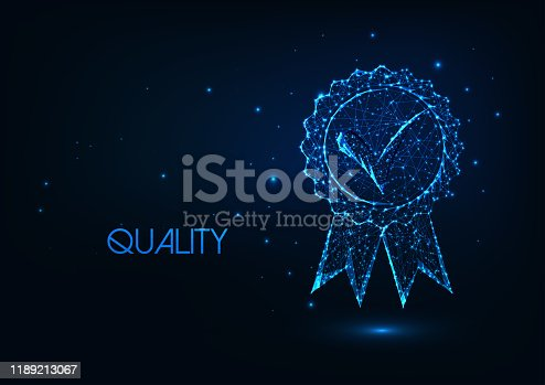 Futuristic premium quality concept with glowing low polygonal approved medal icon isolated on dark blue background. Modern wire frame mesh design vector illustration.