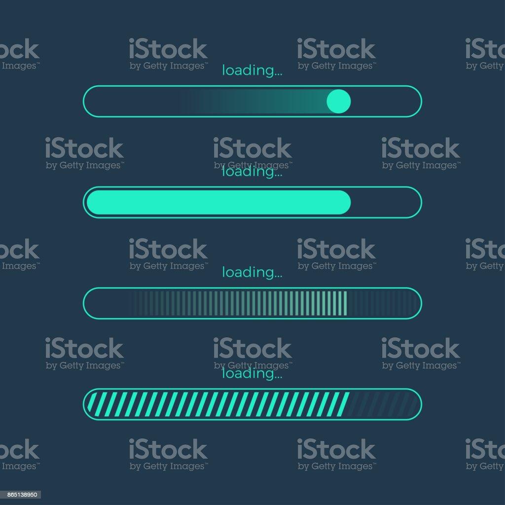 Futuristic progress loading bar vector art illustration