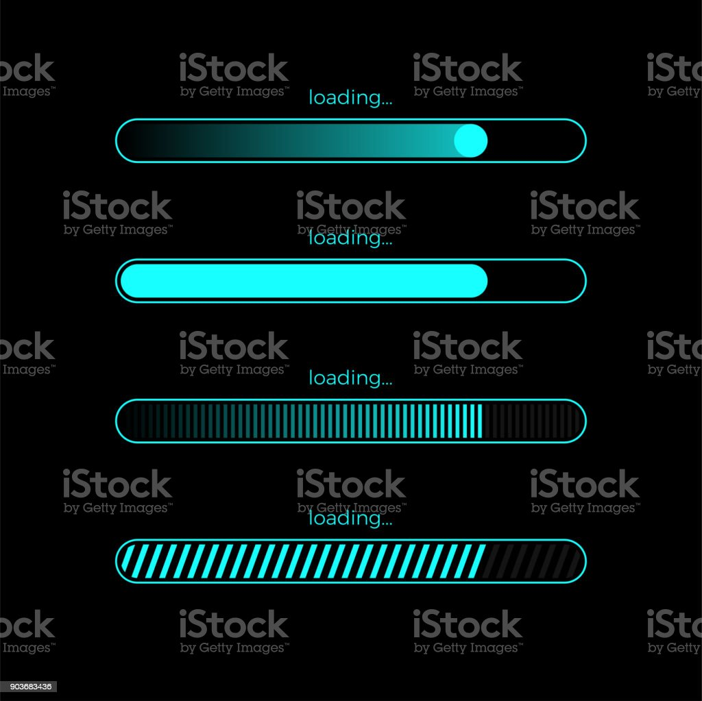 Futuristic progress loading bar vector art illustration