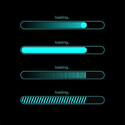 Futuristic Progress Loading Bar - Stockowe grafiki wektorowe i więcej obrazów Bez ludzi