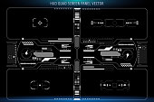 HUD Futuristic Quad User Screen Concept Interface Monitor Vector. Abstract Hologram Space Scifi Panel Illustration.