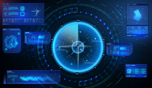 futuristic radar. military navigate sonar.futuristic concept hud, gui style. screen ( dashboard, futuristic circle, space elements, infographics) radar screen and elements gui interface. vector - radar stock illustrations