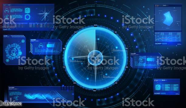 Futuristisches Radar. Militär navigieren Sonar. Futuristisches Konzept HUD, GUI-Stil. Screen (Dashboard, Futuristic Circle, Space Elements, Infographics) Radar-Screen und Elemente GUI-Schnittstelle. Vektor - Lizenzfrei Abstrakt Vektorgrafik