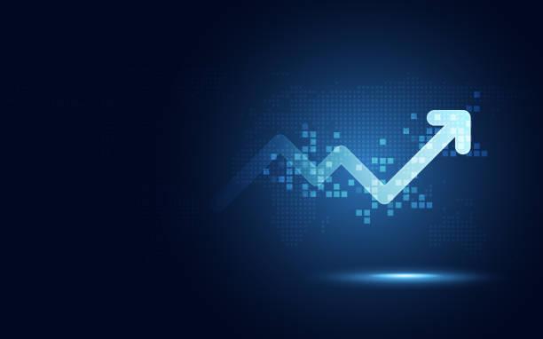 ilustrações, clipart, desenhos animados e ícones de aumento futurista seta gráfico transformação digital abstrata tecnologia fundo. grandes dados e negócio crescimento moeda circulante e investimento economia. ilustração vetorial - fazer dinheiro