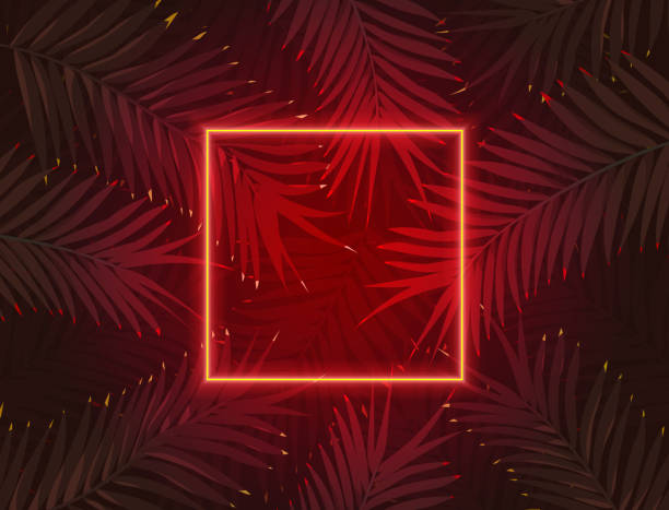 Futuristic Red Cyberpunk or Synthwave Style Neon Fluorescent Square on Dark Jungle Leaf Background vector art illustration