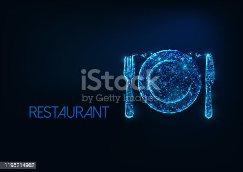 Futuristic restaurant business concept with glowing low polygonal silverware fork, knife and plate isolated on dark blue background. Modern wire frame mesh design vector illustration.